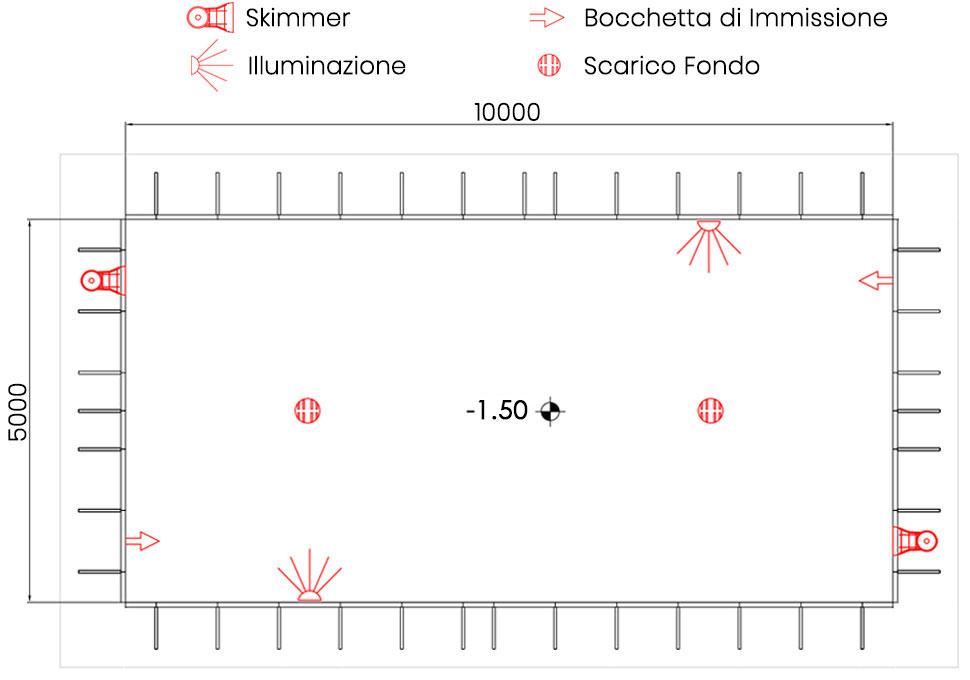 Piscina Interrata 5,00 X 10,00 h 1,50 mt