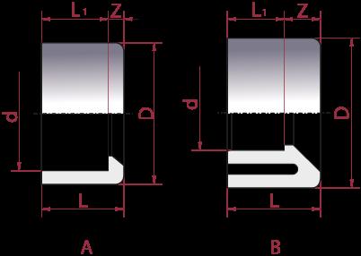 Dimensioni Bussola Riduzione Incollaggio