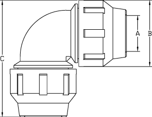Dimensioni Gomito 90°
