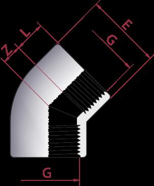 Dimensioni Gomito 45° Filetto Femmina