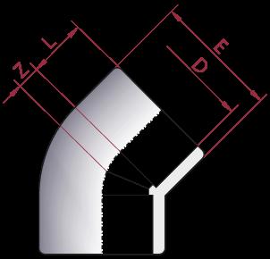 Dimensioni Gomito 45° Incollaggio