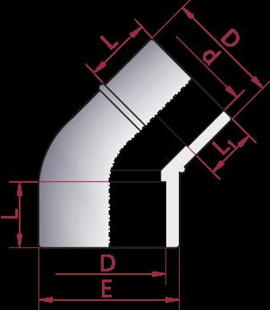 Dimensioni Gomito 45° Ridotto Incollaggio