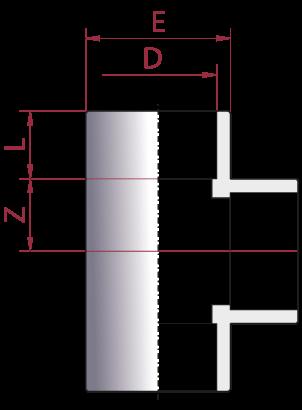 Dimensioni TI 90° Incollaggio