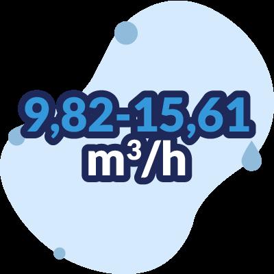portata 9,82 - 15,61 mc/h